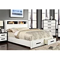 Furniture of America Dimartino Queen Storage Bookcase Bed in White