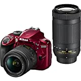 Nikon D3400 DSLR Camera w/ AF-P DX NIKKOR 18-55mm f/3.5-5.6G VR and 70-300mm f/4.5-6.3G ED Lens, 16GB memory included - Red