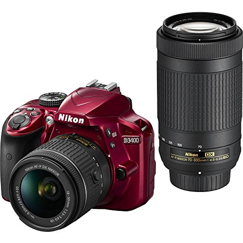 Nikon D3400 DSLR Camera w/ AF-P DX NIKKOR 18-55mm f/3.5-5.6G VR and 70-300mm f/4.5-6.3G ED Lens, 16GB memory included – Red For Sale