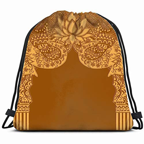 elephants arch architectural animals wildlife indian buildings landmarks Drawstring Backpack Gym Sack Lightweight Bag Water Resistant Gym Backpack for Women&Men for - Persian Lotus Light