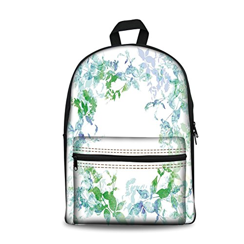 Hazy Violet - Design the fashion fo Kids Back to School Backpack, Canvas Book Bag,Mint,Floral Spring Wreath in Watercolor Paintbrush Stylized Hazy Effects Artful Image,Seafoam Violet.