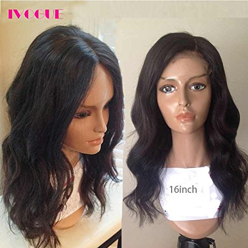 Pre Plucked 13X6inch Deep Part Lace Front Human Hair Wigs With Baby Hair For Black Women Malaysian Soft Virgin Hair (16inch)
