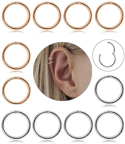 LOLIAS 12Pcs 8-10mm Stainless Steel 16G Cartilage Hoop Earrings for Men Women Nose Hoop Ring Helix Septum Couch Daith Lip Tragus Piercing Jewelry