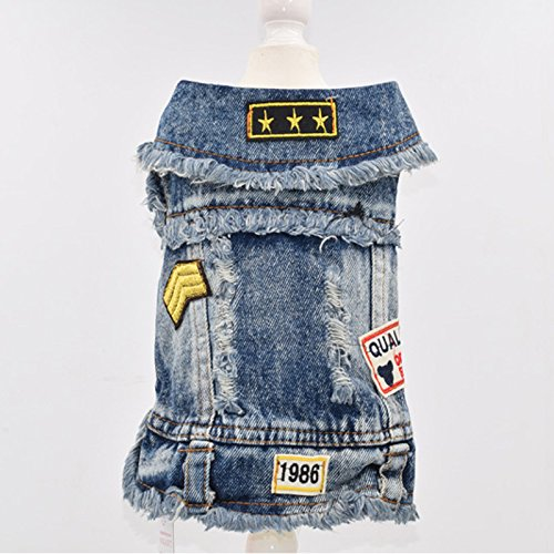 Factory Direct Sale Explosion Models Dog Clothes Cool Denim Vests Pet Clothes Spring and Summer Dog Clothes Denim Pet Clothing