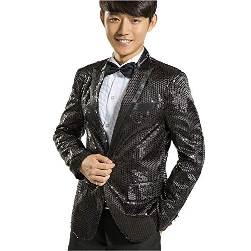 (MY'S Men's Gangnam Style Bling Sequins Party Tuxedo Suit and Pants Set Black Size)