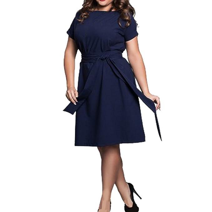 Manga Corta Vestido para Mujer, Moda Color Sólido Blusa Largo con Pretina Elegante Cuello Redondo Casual Vestidos Streetwear Tops L-6XL: Amazon.es: Ropa y ...