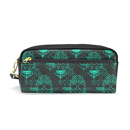 Sugar Skull Dia De Los Muertos PU Leather Pencil Case Portable Pen Organizer Pouch Stationary Case Makeup Cosmetic (Cactus Costume Makeup)