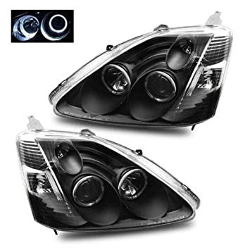 SPPC Black Projector Headlights Assembly Set with Halo Rings for Honda  Civic 3 Door - (Pair) Driver Left and Passenger Right Side Replacement  Headlamp
