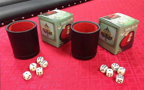 2 VEGAS GAMING SUPPLIES DELUXE Bar Style DICE CUPS With 5 Dice EACH