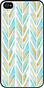 Blue and Gold Feathered Chevron Pattern- Case for the Apple Iphone 4s-4s Universal-Hard Black Plastic