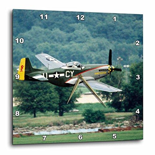 3dRose dpp_91303_2 North American P-51 D Mustang, War Plane-Us24 Bfr0082-Bernard Friel-Wall Clock, 13 by 13-Inch (P Mustang 51 Clock)