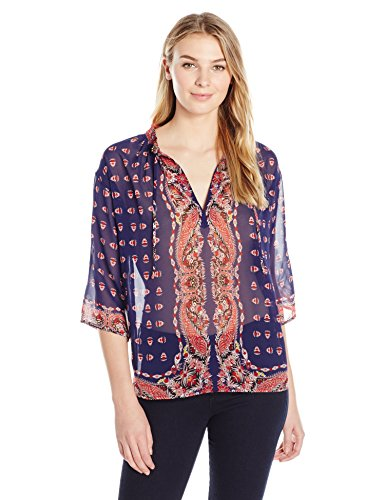 James & Erin Women's Three-Quarter-Sleeve Semi-Sheer Top