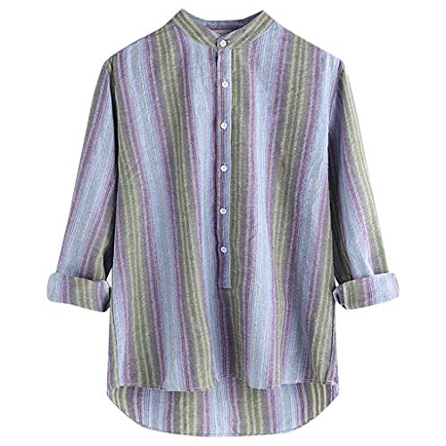 YKARITIANNA Men's Colorful Stripe Summer Long Sleeve Loose Buttons Casual Shirt Blouse 2019 Summer Purple ()