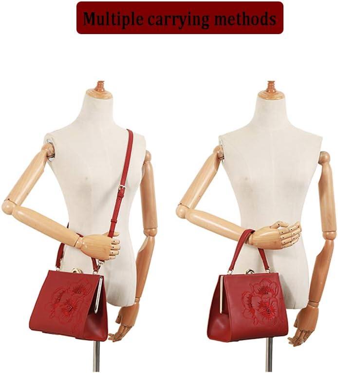 FFYUYI Cinese Stile Etnico Ricamato Borsa, Ricamato Floreale Shoulder Bag,Rosso Red