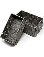 Lashuma Otwarte kosze do przechowywania, 2 sztuki, rozmiary: 19 x 10 x 7 cm i 20 x 13 x 10 cm, szare koszyki łazienkowe