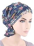 Abbey Cap Women's Chemo Hat Beanie Scarf Turban Headwear for Cancer Ruffle Blue Floral