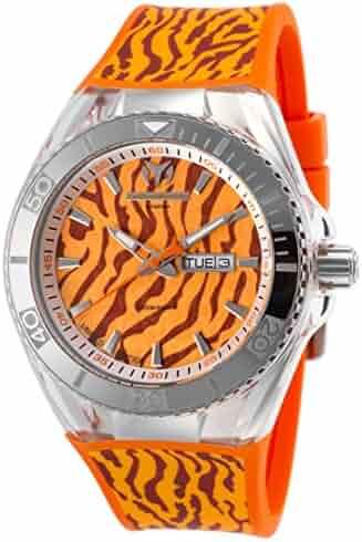 6127d7c5c Technomarine Tm-114011 Men's Ltd Ed. Cruise Tiger Orange Silicone And Dial  Watch