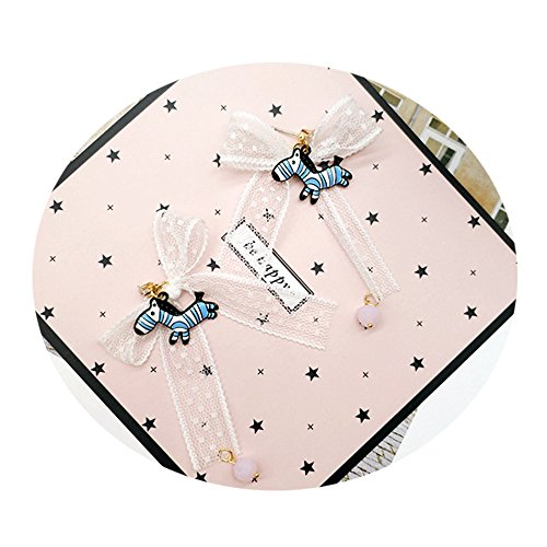 - TIDOO Jewelry Korean Style Partysu Stud Earring for Girls Blue Zebra with Lace Bows Hot Air Balloon Ear Stud (E# Lace Bows)