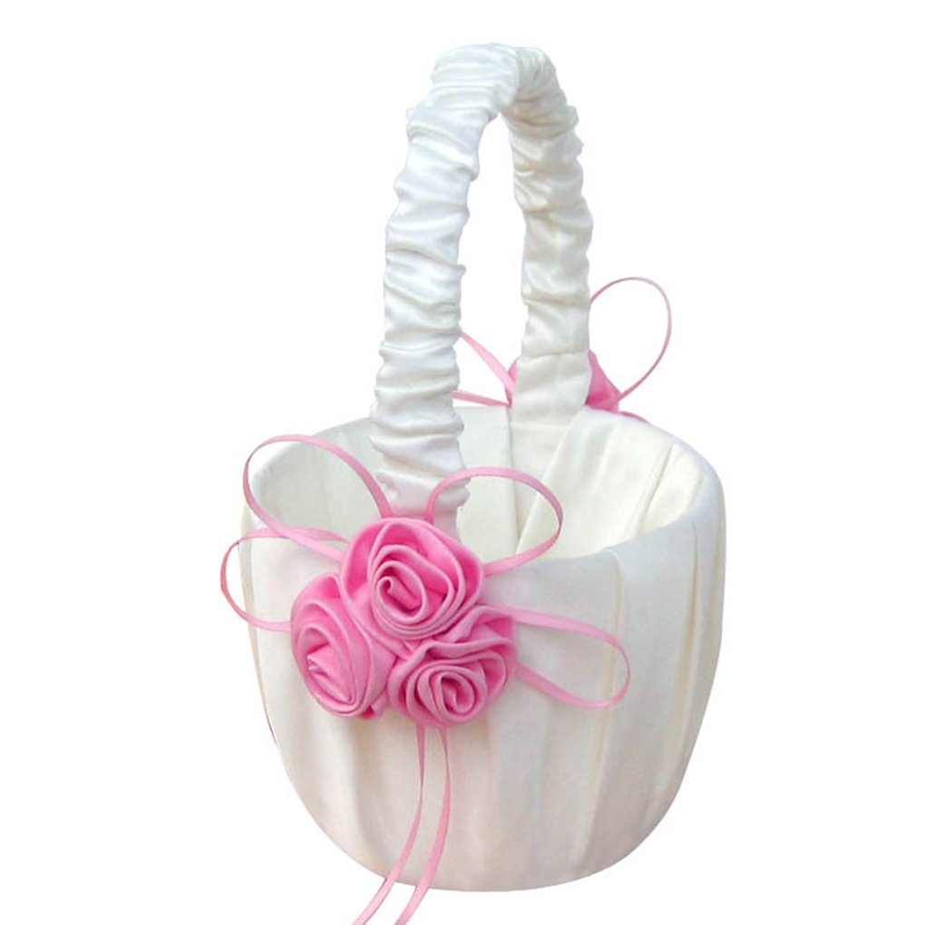 LUFA Lace Collection Wedding Flower Girl Basket Pink Rose Flower Basket for wedding pink