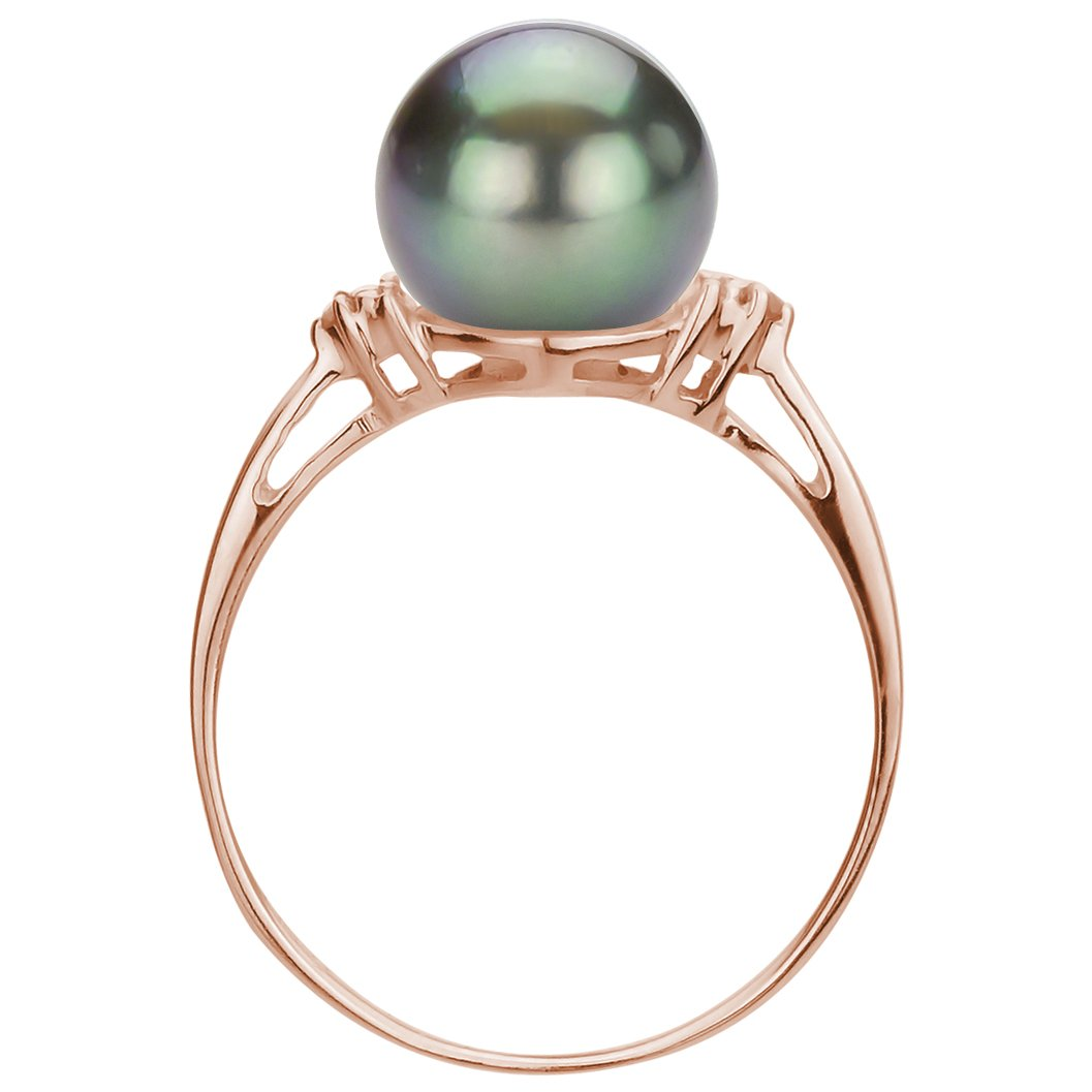Rose Gold Plated SterlingSilver 1 100cttw Diamond on Each Side 8-8.5mm Black Tahitian Cultured Pearl Ring