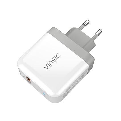 Vinsic, Quick Charge 3.0 Cargador USB de pared 19,5 W, compatible ...