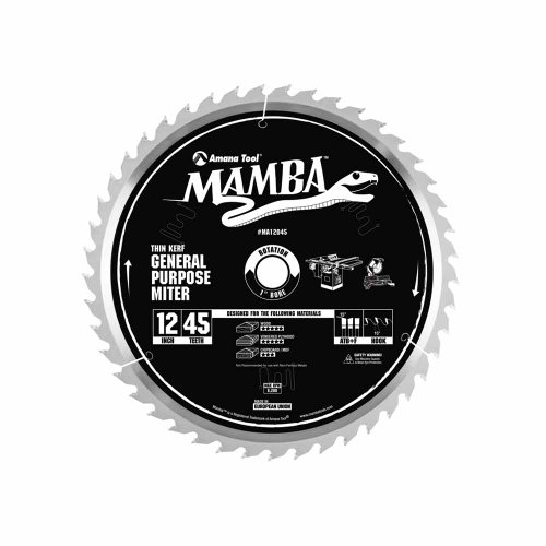Amana Tool Mamba Series MA12045 General Purpose Miter 12-Inch x 45 Tooth x ATB+F Grind 1-Inch Bore Saw Blade ()