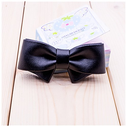 Shaped Shoe Clips - Douqu Fashion Removable Black White Red Blue Assorted Color Synthetic Leather Bow Shoe Clips Pair (Black)