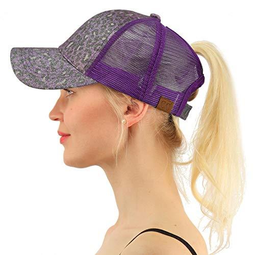 Lavender Leopard - C.C Ponytail Messy Buns Trucker Ponycaps Plain Baseball Visor Cap Dad Hat Leopard Glitter Lavender/Purple