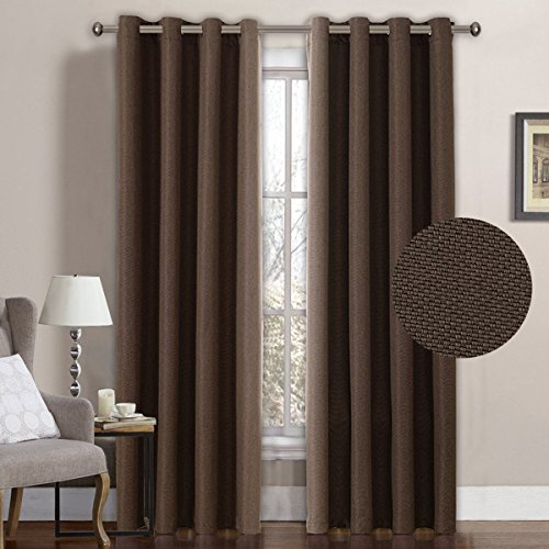 H.Versailtex Classical Grommet Top Room Darkening Thermal Insulated Heavy Weight Textured Tiny Plaid Linen Like Innovated Extra Long Patio Curtains&Drapes,52 by 108 Inch-Cocoa Brown (1 Panel) (Tiny For Doors Sale)
