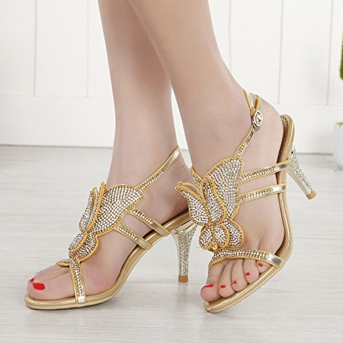 Party Wedding shoes Strapy Butterfly Sandals Mid Women Bling Gold Pattern Crystal Pump Honeystore Heel qg4xpzwP