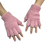residentD Fingerless Warm Gloves with Thumb Half Fingerless Driving Knit Gloves (Pink)