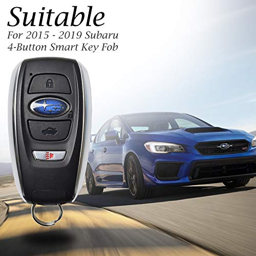 Vitodeco Subaru Leather Keyless Entry Remote Control Smart Key Case Cover with a Key Chain for 2019 Subaru Forester, Impreza, Outback, WRX, BRZ, XV Crosstrek (4-Button, Black/Red)