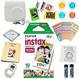Fujifilm instax mini 8 accessories KIT WHITE includes - instant film 10 pack + deluxe bundle for fujifilm instax mini 8 cameras