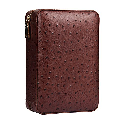 CIGARISM Genuine Leather Spanish Cedar Lined Cigar Travel Case Humidor W/Cutter Set 4 Count (Ostrich)