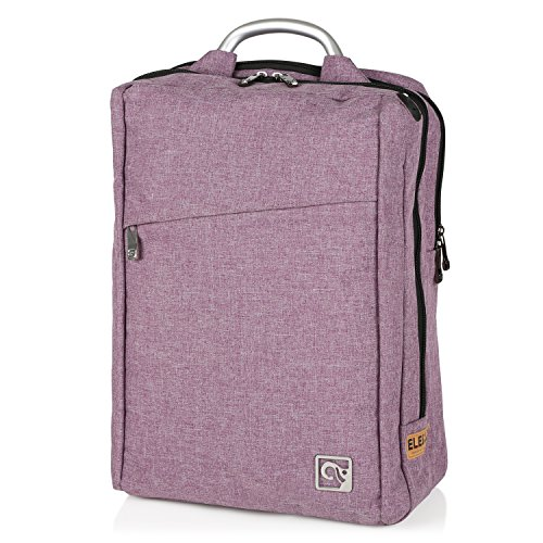 Stylish Laptop Backpack for Adults & Kids by EleSac, Water Resistant Designer Canvas Backpack Style for College School Business Work Fashion Purple