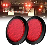 AMBOTHER 4'' Round 12-LED Truck Trailer Brake Stop Turn Marker Tail Light Flush Mount Back-Up Low Profile Light, Waterproof Tight Sealed Grommet Plug for RV Boat Truck Trailer Red DC 12V (Pack of 2)