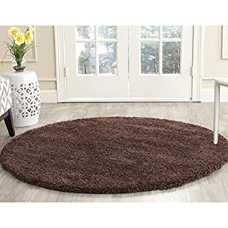 "Safavieh Milan Shag Collection SG180-2525 Brown Round Area Rug (5'1"" Diameter) (B00G4IOUGC) 