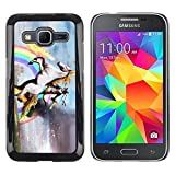LASTONE PHONE CASE / Slim Protector Hard Shell Cover Case for Samsung Galaxy Core Prime SM-G360 / Unicorn Horse Rainbow Magical Gold