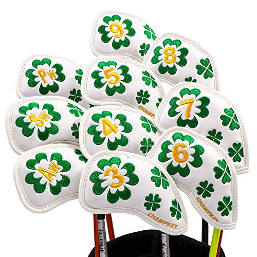 Champkey Custom Golf Iron Head Cover Pack of 10pcs Club Covers Ideal for Titleist, Callaway, Ping, Taylormade,Cobra Etc (Lucky Clover-White)