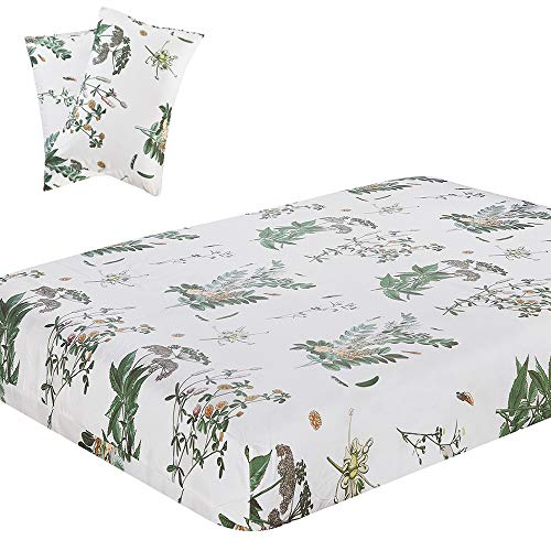 Vaulia Lightweight Microfiber Fitted Sheet, Floral Botanicals Printed Pattern, Green/White Color Full Size, 3-Piece Set