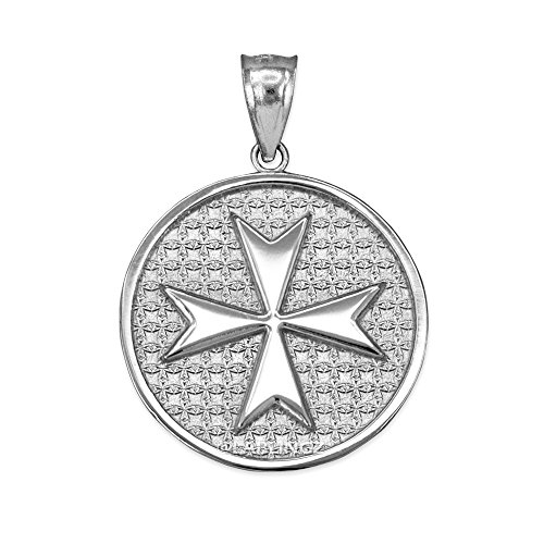 Sterling Silver Knights Templar Maltese Cross Medal Pendant - Maltese Cross Medal