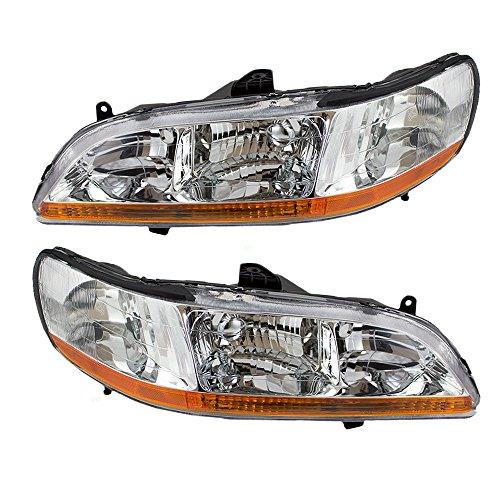 Driver and Passenger Headlights Headlamps Replacement for Honda 33151-S84-A02 (A02 Headlamp)