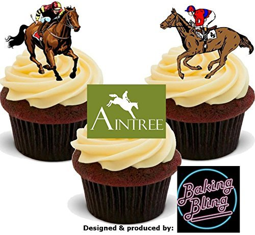 12 x Horse Racing Aintree Racecourse Races Mix - Fun Novelty Boys Birthday PREMIUM STAND UP Edible Wafer Card Cake Toppers -