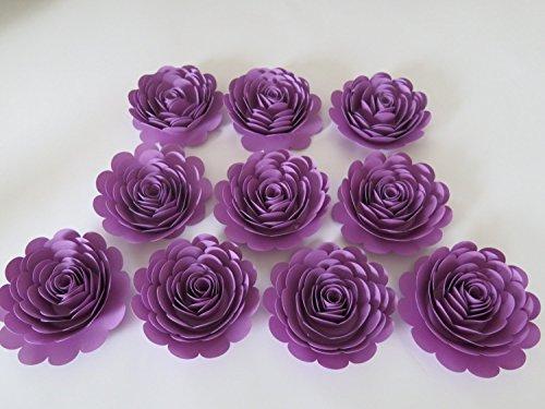 Pretty Purple Roses Set, 10 Big Artificial Paper Flowers, 3