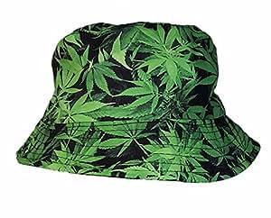 Sombrero de sol con estampado de ganja, multicolor, color verde