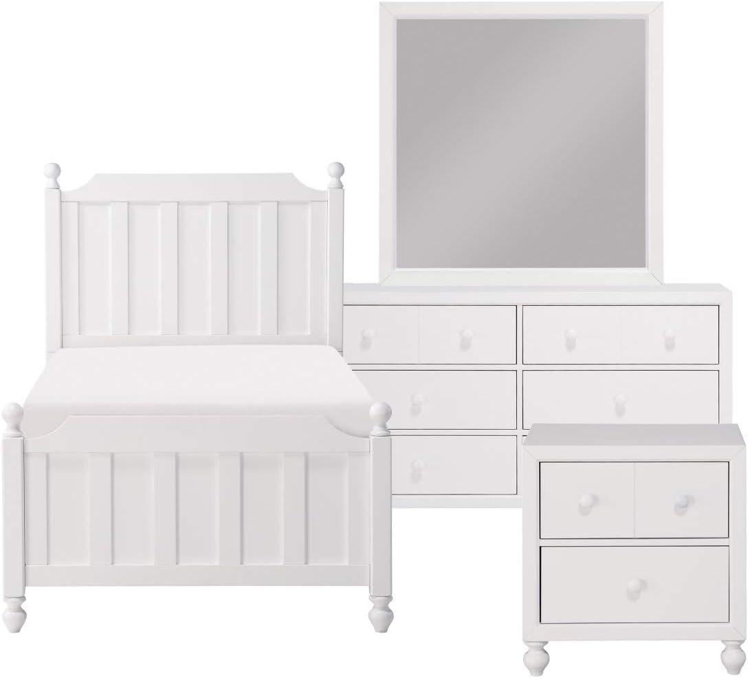 Wellsummer Transitional Twin Bedroom Set in White, 5-Piece