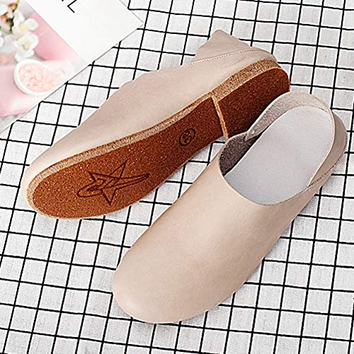 Flat Leather Dress Comfy Toe Pointed Shoes on Women Leisure JULY Genuine Slip Sneakers T Loafers Beige Fashion for q6Ezn0Zw