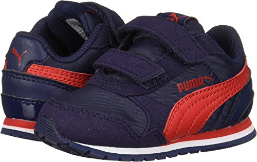 PUMA Baby ST Runner NL Velcro Kids Sneaker, Peacoat-Ribbon red, 9 M US Toddler