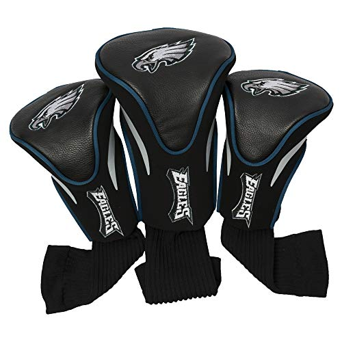 Team Golf NFL Philadelphia Eagles Contour Golf Club Headcovers (3 Count), Numbered 1, 3, & X, Fits Oversized Drivers, Utility, Rescue & Fairway Clubs, Velour lined for Extra Club Protection