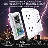 USB Wall Charger, Surge Protector, 6 Outlet